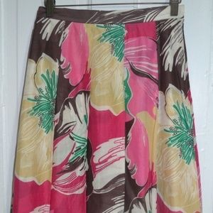 AK Anne Klein Colorful Floral Pleated Lined Skirt